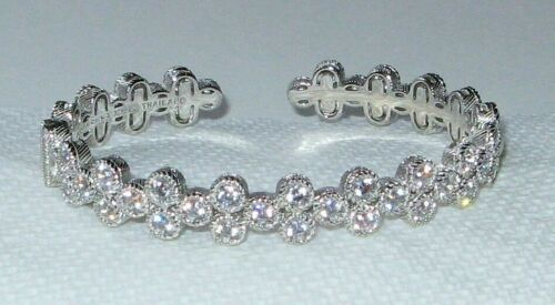 Wonderful Judith Ripka Sterling Silver & CZ Hinged Cuff Bracelet, Thailand