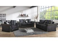 SHANNON CORNER SOFA 🔵⚫3 + 2 SEATER IN LEATHER & CHENILLE FABRIC in BLACK or BROWN QUACK DELIVERY