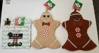 (Set Of 3) Gingerbread Christmas Oven Mitts (2) and Elf Pot Holder (Gingerbread Pot Holder)