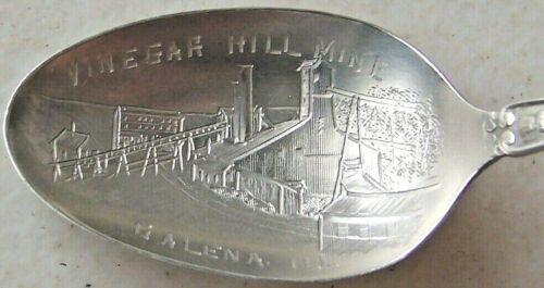 Vintage Sterling Vinegar Hill Mine Spoon Galena Illinois Souvenir w/ Fort Cabin
