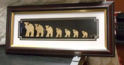 Framed 7 Hand Carved Wood Camels Shadowbox