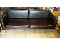 2 Dark Brown 3 seater Leather sofas priced for set open to offers