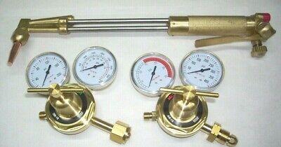 18 Acetylene Cutting Torch 90 Deg W Tip Oxy-fuel Regulator Set Fits Harris
