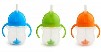 7oz Food Grade Click Lock BPA-Free Weighted Sippy Straw Cup with Dual Handles