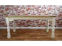 Hardwood Extendable Rustic Farmhouse Dining Kitchen Table - Seats 6-12