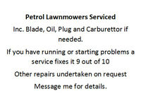 Lawnmower servicing and repairs