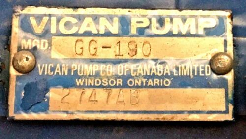 VICAN Hydraulic Pump GG-190.  10gpm at 400 psi at1800 rpm.  Used on John Deere