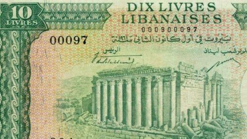 10 Livres >>> 1961 <<< TWO DIGITS   Chamoun Lebanon Liban Libanaise Libano