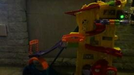 Toy race car garage