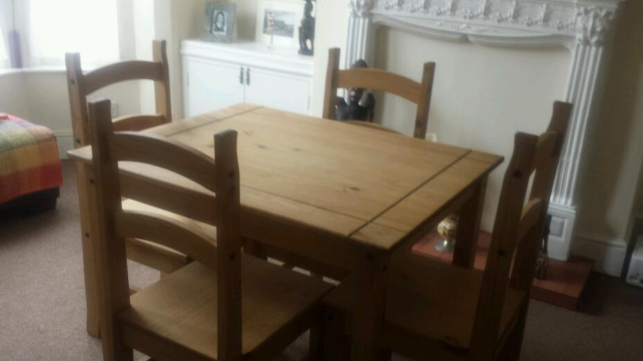 Unvarnished Pine Dining Table 4 Chairs Reduced For Quick Sale