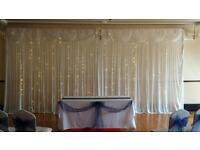 Wedding starlight backdrops £80, chair covers and Led love letters