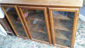 Solid pine glass fronted wall unit