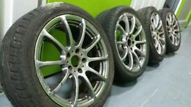 "Genuine AXE 17"" 5x110 alloy wheels + 2 tyres Bargain! Vauxhall Saab Alfa!"