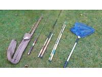 Fishing rod job lot + landing ket bargain garage clearout