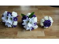 3 x Bridesmaid Bouquets Ivory & Cadbury Purple