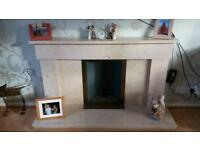 Solid marble fireplace fire surround