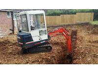 Mini digger hire 150 a day all plant with operator digger and driver all areas