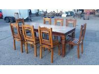 Sheesham wood 8 seater table and chairs