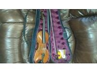 Violin, bow, case and extra strings
