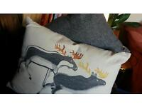 Stag/reindeer cushions x 2