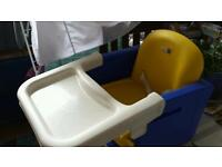 Booster high chair which attaches to dining chair