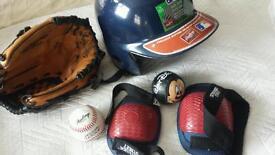 Baseball mitt and helmet