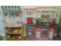 Little tikes kitchen and wooden food stall