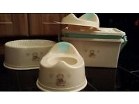 """BabiesRus I Love my Bear """"Rare"""" Changing box, Potty, Toilet Seat and Step Excellent Condition"""