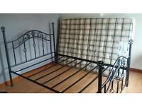 Black metal Double bed and matress