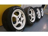 Rare genuine Borbet 14x6J 4x100 alloy wheels + tyres VW Honda Toyota Vauxhall German