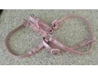 Small dogs pink glitter harness