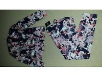 Next women floral fitted trousers suit. New with tags. Size 8.
