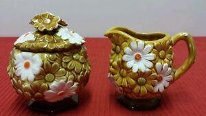 Vintage Daisy Gold & white Fred Roberts Co.  raised ceramic Creamer/Sugar bowl
