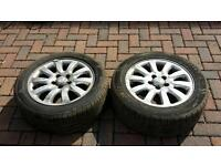 Pair of 205/55/16 jaguar 10 spoke alloys