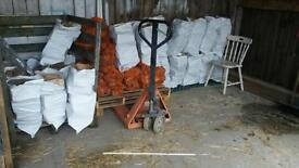 Iogs and kindling. In sacks and nets.can deliver or you can collect