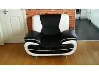 Three piece suite and chair and footstool