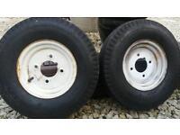 Two trailer wheels