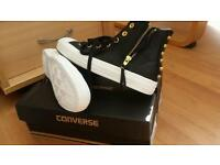 Converse trainers (womens) black leather with stud detail. New.