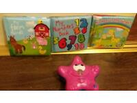 Set of 3 baby bath books and Munchkin bath toy