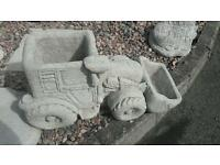 Concrete tractor planter garden ornament