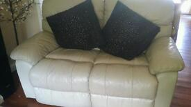 Leather 3 seater and 2 seater recliner