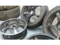 "Black Rota style 17"" 4x100 4x114 3 alloy wheels + two tyres Honda Vauxhall mitsubishi Renault Toyota"