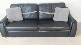 Black leather and fabric 3 seater sofa