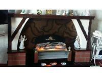 Fireplace .. standard lamp ... foot puff .. fire needs new bars