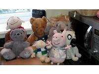 Bundle soft toys including Build a Bear, Peppa Pig & laughing dog!