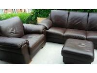 Italian leather sofa, armchair and pouffet