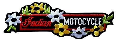 "Vintage NEW INDIAN MOTOCYCLE Logo Patch Intertwined Flowers on Vine 7.25"" Large"