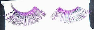 NEW purple TINSEL EYE LASHES MAKE UP HALLOWEEN COSTUME LONG many ideas @@