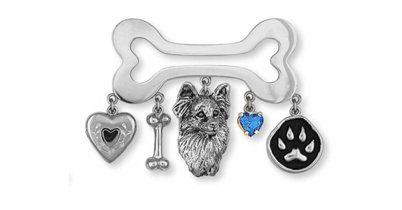 Papillon Brooch Pin Jewelry Sterling Silver Handmade Dog Brooch Pin PA2-BR
