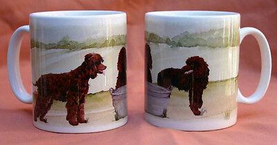 IRISH WATER SPANIEL DOG MUG OFF TO THE DOG SHOW WATERCOLOUR PRINT SANDRA COEN